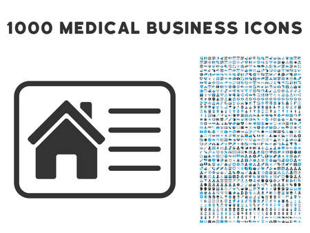 access card: House Info Card icon with 1000 medical business gray and blue vector design elements. Collection style is flat bicolor symbols, white background. Illustration