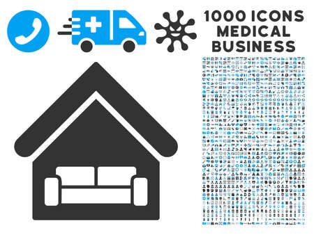 habitation: House Interrior icon with 1000 medical commercial gray and blue vector pictograms. Collection style is flat bicolor symbols, white background.