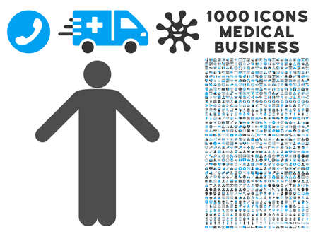ignorance: Ignorance Pose icon with 1000 medical commercial gray and blue vector pictographs. Clipart style is flat bicolor symbols, white background.