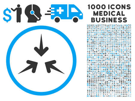 compress: Impact Arrows icon with 1000 medical commercial gray and blue vector pictographs. Design style is flat bicolor symbols, white background.