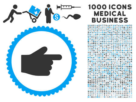 Index Finger icon with 1000 medical business gray and blue vector pictographs. Collection style is flat bicolor symbols, white background.