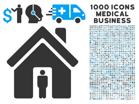 homeland: House Owner icon with 1000 medical commerce gray and blue vector pictograms. Collection style is flat bicolor symbols, white background.