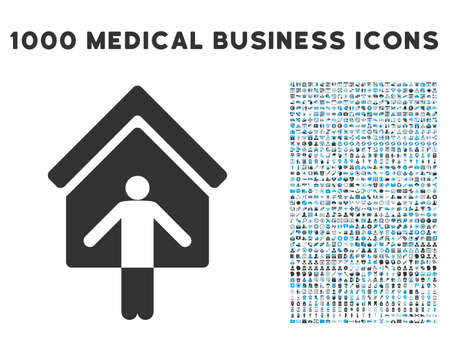 habitation: House Owner Wellcome icon with 1000 medical commercial gray and blue vector pictograms. Set style is flat bicolor symbols, white background.