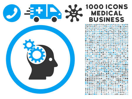 robo: Intellect Gears icon with 1000 medical commercial gray and blue vector pictograms. Collection style is flat bicolor symbols, white background.