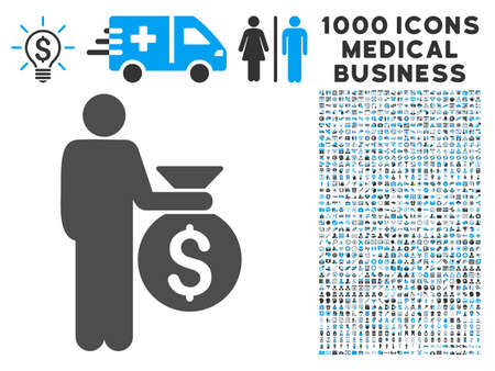 investor: Investor icon with 1000 medical commerce gray and blue vector pictographs. Collection style is flat bicolor symbols, white background.