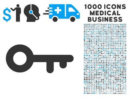 latchkey: Key icon with 1000 medical business gray and blue vector pictograms. Clipart style is flat bicolor symbols, white background.