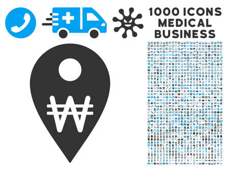 korean design: Korean Won Map Marker icon with 1000 medical commercial gray and blue vector design elements. Design style is flat bicolor symbols, white background.