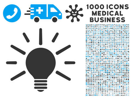 light emission: Light Bulb icon with 1000 medical commerce gray and blue vector pictographs. Collection style is flat bicolor symbols, white background.