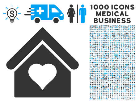 brothel: Love House icon with 1000 medical commercial gray and blue vector pictograms. Set style is flat bicolor symbols, white background. Illustration