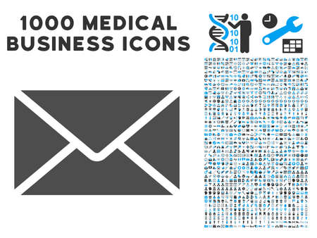 mail icon: Mail Envelope icon with 1000 medical commercial gray and blue vector design elements. Set style is flat bicolor symbols, white background. Illustration