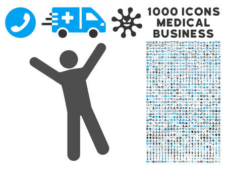 Man Joy icon with 1000 medical commercial gray and blue vector pictograms. Collection style is flat bicolor symbols, white background.
