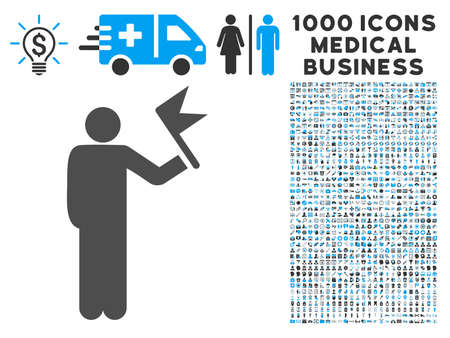 general manager: Man With Flag icon with 1000 medical commerce gray and blue vector pictograms. Set style is flat bicolor symbols, white background.