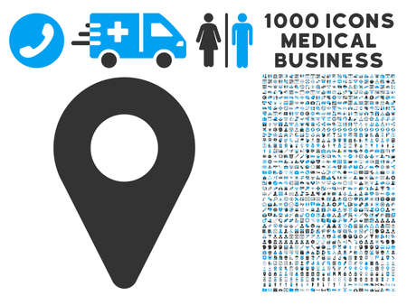 map marker: Map Marker icon with 1000 medical commerce gray and blue vector pictographs. Set style is flat bicolor symbols, white background. Illustration