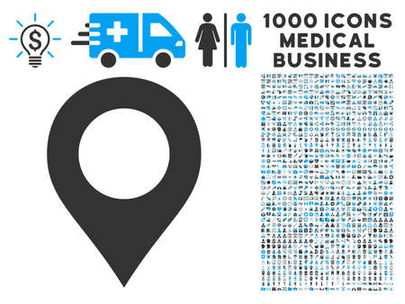 coordinates: Map Marker icon with 1000 medical business gray and blue vector pictographs. Set style is flat bicolor symbols, white background. Illustration