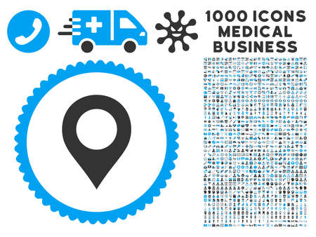 Map Marker icon with 1000 medical commercial gray and blue vector pictograms. Design style is flat bicolor symbols, white background.