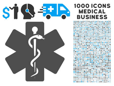 medical emblem: Medical Emblem icon with 1000 medical commercial gray and blue vector pictograms. Collection style is flat bicolor symbols, white background. Illustration