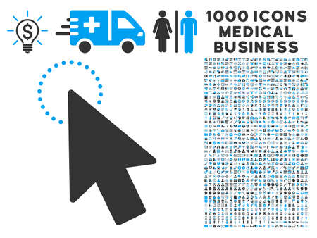 mouse pointer: Mouse Pointer icon with 1000 medical business gray and blue vector pictographs. Collection style is flat bicolor symbols, white background.
