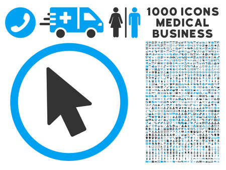 mouse pointer: Mouse Pointer icon with 1000 medical business gray and blue vector pictograms. Collection style is flat bicolor symbols, white background.