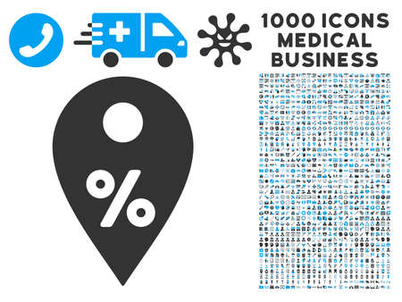 financial position: Percent Map Marker icon with 1000 medical commerce gray and blue vector pictographs. Collection style is flat bicolor symbols, white background. Illustration