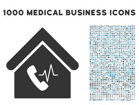 corporative: Phone Station Building icon with 1000 medical business gray and blue vector design elements. Collection style is flat bicolor symbols, white background.