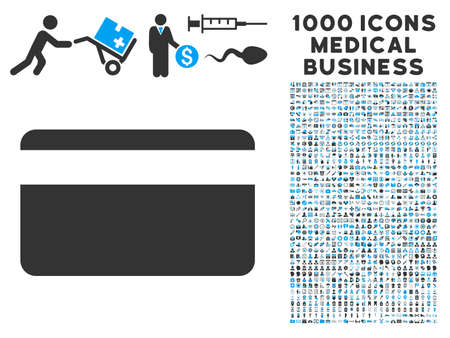 creditcard: Plastic Card icon with 1000 medical business gray and blue vector pictographs. Collection style is flat bicolor symbols, white background.