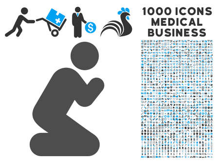 Pray Pose icon with 1000 medical commerce gray and blue vector pictographs. Set style is flat bicolor symbols, white background. Illustration