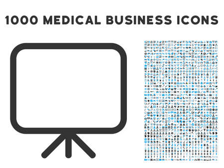 presentation screen: Presentation Screen icon with 1000 medical commercial gray and blue vector pictograms. Design style is flat bicolor symbols, white background. Illustration
