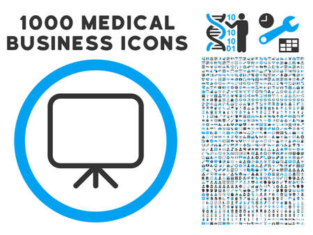 presentation screen: Presentation Screen icon with 1000 medical commercial gray and blue vector pictographs. Clipart style is flat bicolor symbols, white background.