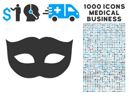 enigma: Privacy Mask icon with 1000 medical commerce gray and blue vector pictographs. Design style is flat bicolor symbols, white background.