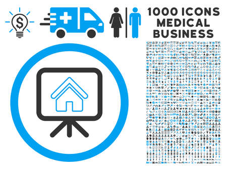 slideshow: Project Slideshow icon with 1000 medical business gray and blue vector pictographs. Set style is flat bicolor symbols, white background.
