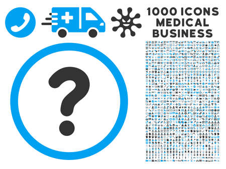inquire: Question icon with 1000 medical business gray and blue vector pictograms. Set style is flat bicolor symbols, white background. Illustration