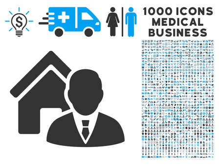 realtor: Realtor icon with 1000 medical business gray and blue vector pictograms. Design style is flat bicolor symbols, white background.