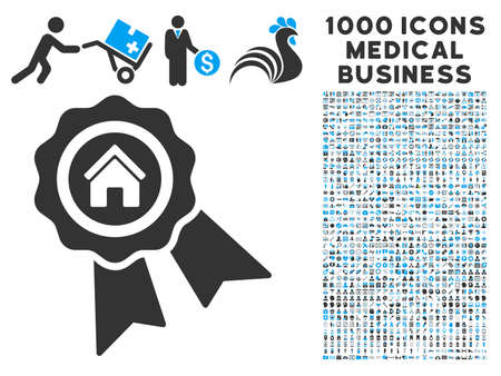 first house: Realty Award icon with 1000 medical business gray and blue vector pictograms. Set style is flat bicolor symbols, white background. Illustration