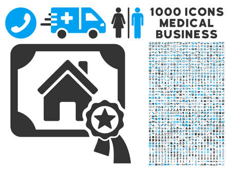 real trophy: Realty Certification icon with 1000 medical business gray and blue vector pictographs. Clipart style is flat bicolor symbols, white background. Illustration