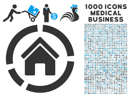 habitation: Realty Diagram icon with 1000 medical commerce gray and blue vector pictographs. Design style is flat bicolor symbols, white background.