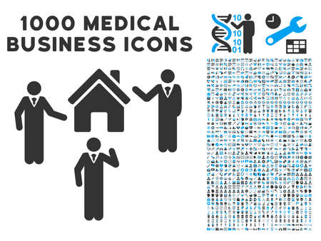 public figure: Realty Discuss Persons icon with 1000 medical commerce gray and blue vector pictographs. Collection style is flat bicolor symbols, white background.