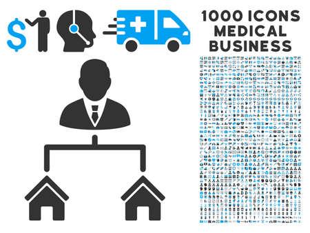 Realty icône Gestionnaire avec 1000 médicaux pictographs vecteur gris et bleu commerciaux. style Clipart est des symboles bicolor plat, fond blanc.