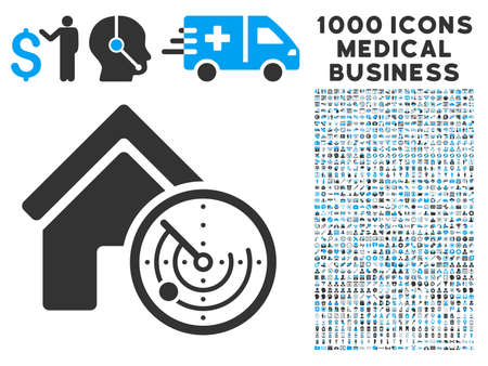 blip: Realty Radar icon with 1000 medical commerce gray and blue vector pictograms. Collection style is flat bicolor symbols, white background.