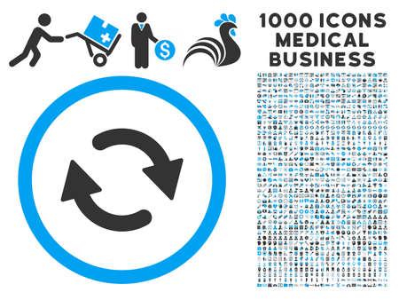 Refresque el icono con 1000 pictogramas comerciales médicos grises y azules del vector. Establecer el estilo es símbolos planos bicolor, fondo blanco.