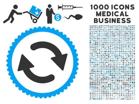 Refresque el icono con 1000 pictogramas médicos del vector gris y azul del negocio. El estilo del clipart es símbolos planos bicolores, fondo blanco.