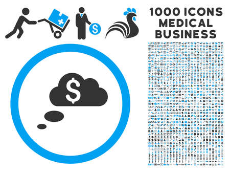 richness: Richness Dream Clouds icon with 1000 medical commercial gray and blue vector pictographs. Design style is flat bicolor symbols, white background. Illustration
