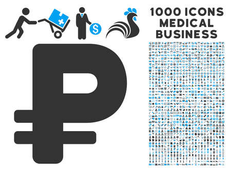 rub: Rouble icon with 1000 medical commercial gray and blue vector pictographs. Design style is flat bicolor symbols, white background.
