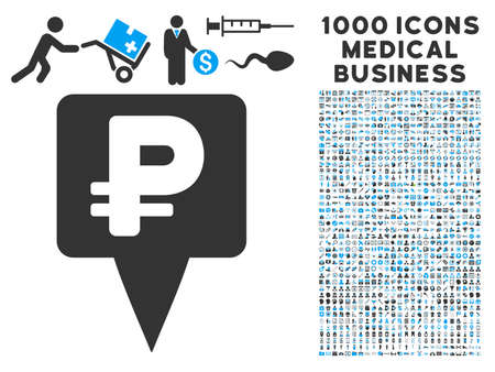 rouble: Rouble Map Pointer icon with 1000 medical business gray and blue vector design elements. Clipart style is flat bicolor symbols, white background. Illustration