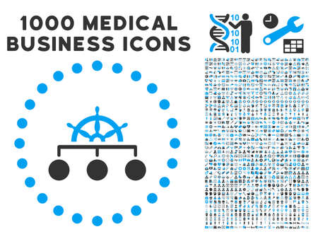 Rule icon with 1000 medical business gray and blue vector pictographs. Collection style is flat bicolor symbols, white background. Illustration