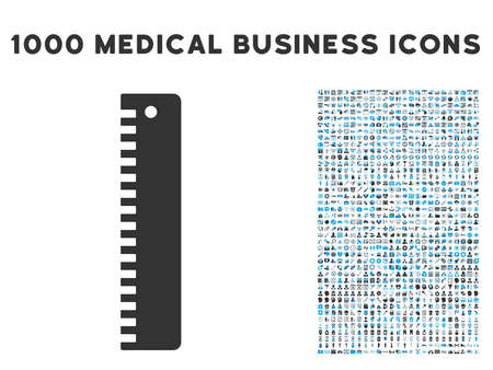 height measure: Ruler icon with 1000 medical commercial gray and blue vector pictograms. Set style is flat bicolor symbols, white background. Illustration