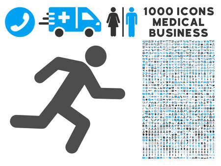 log out: Running Man icon with 1000 medical business gray and blue vector pictographs. Clipart style is flat bicolor symbols, white background. Illustration