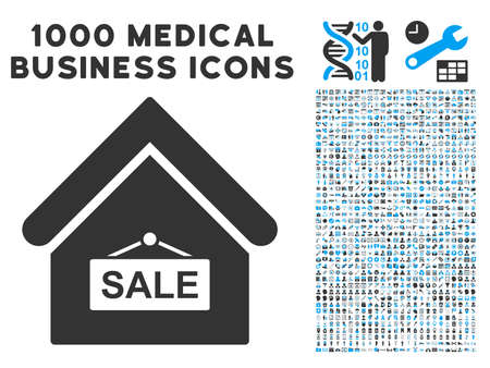 symbols commercial: Sale Building icon with 1000 medical commercial gray and blue vector pictographs. Design style is flat bicolor symbols, white background.