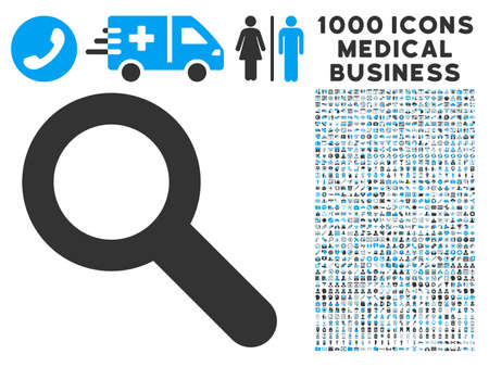 Search icon with 1000 medical commerce gray and blue vector pictographs. Design style is flat bicolor symbols, white background.
