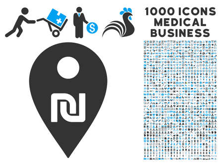 Shekel Map Marker icon with 1000 medical commercial gray and blue vector design elements. Set style is flat bicolor symbols, white background.