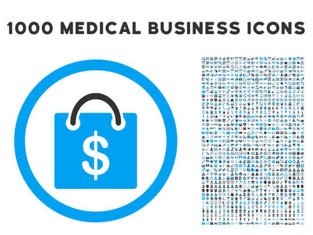 billfold: Shopping Bag icon with 1000 medical business gray and blue vector pictograms. Design style is flat bicolor symbols, white background. Illustration
